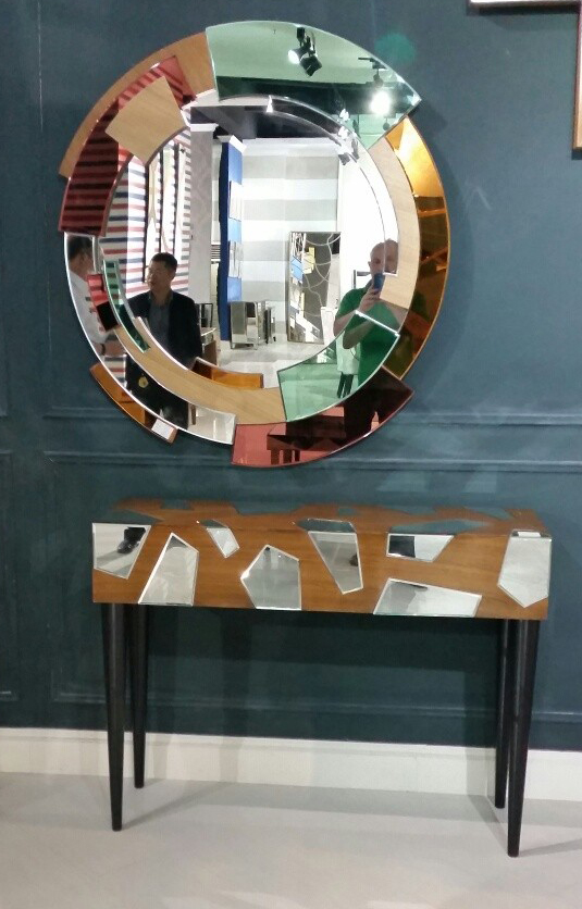 Luxury mirror console table and wall mirror with veneer finish for Wall table with mirror